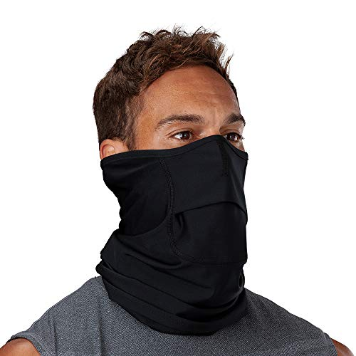all of the best neck gaiters to buy for 2021 Shock Doctor Face Neck Gaiter with Quick-Flip Opening for Drinking/Mouthguard. for Sport Athletes, Adults, Youth, Kids.