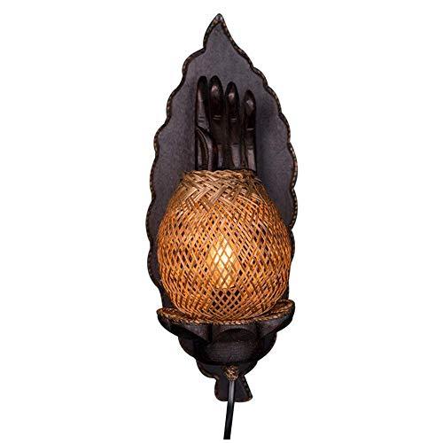 BOSSLV Lampes Murales de Lavage Lampes Murales Applique Appliques Style Japonais en Bambou Lampes Éclairage Jardin Balcon Bambou