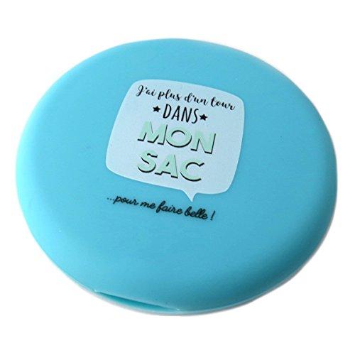 Les Trésors De Lily [Q0425] - Miroir grossissant 'Messages' turquoise (j'ai plus d'un tour dans mon sac pour me faire belle !) - 7.5 cm