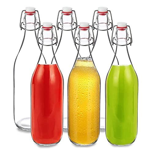 Botellas de cristal con cierre de clip, 6 unidades, 500 ml, rellenables, para zumo, cerveza, kéfir y batidos