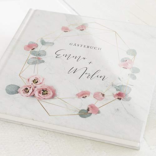 sendmoments Hochzeitsgästebuch Floral Wedding, personalisiert mit Text, hochwertiges Hardcover-Buch, quadratisch 19x19 cm, mit 32 leeren Seiten oder mehr