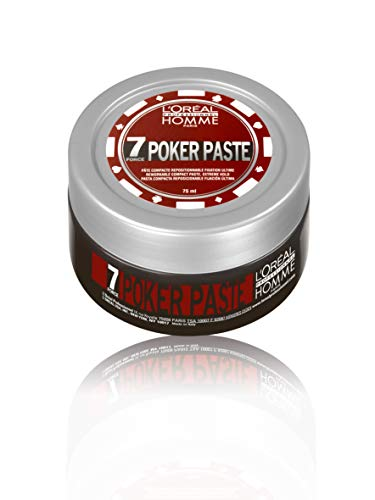 L'Oréal Professionnel Homme Poker Paste, mattierende Haar-Stylingpaste, modellierbares Clay für vielfältige Looks, starker Halt, kein Verkleben, 75 ml