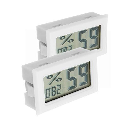 ILS - 2 stuks digitale mini-LCD-digitale thermometer-hygrometer koelkast vrieskast temperatuur vochtigheidsmeter meter wit