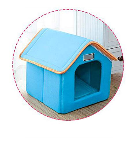 Eileen Ford Dog Water Mats Floors, Pet House Foldable Bed With Mat Soft Winter Leopard Dog Puppy Sofa Cushion House Kennel Nest Dog Cat Bed For Small Medium Dogs-Blue-46cmx38cmx34cm