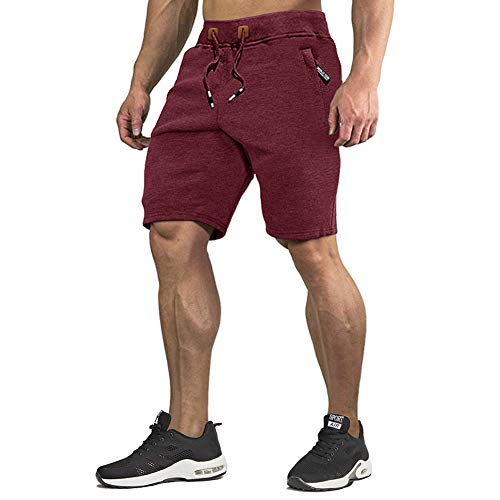 CRYSULLY Mens Casual Shorts Workout Fashion Comfy Shorts Summer Breathable Shorts Wine Red