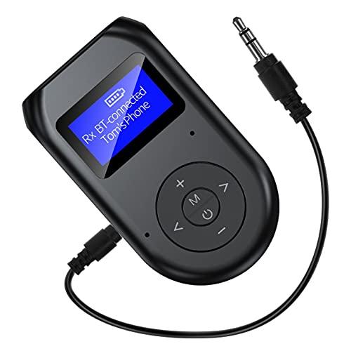 MARSPOWER Transmisor y Receptor inalámbricos visibles con Pantalla LCD Adaptador de Audio 5.0 para TV PC Sistema estéreo para el hogar del automóvil - Negro 90x105x35Mm
