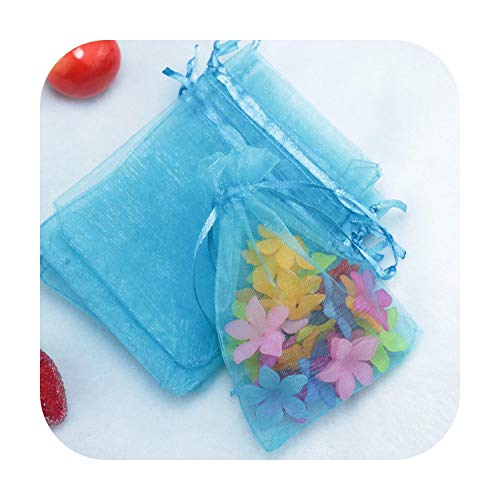 10 bolsas de organza de 7 x 9 cm, 9 x 12, 10 x 15, 15 x 20, 17 x 23, 20 x 30, 25 x 35, 30 x 40, 35 x 50 cm, para regalo de tartas, caramelos de fiesta, cumpleaños, boda, Navidad, Peacock Blue-10x15 cm
