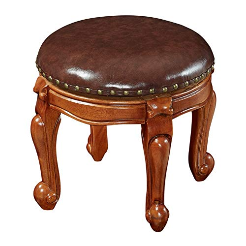 LIANG Kleine runde hocker kinder sofa hocker ändern schuhbank massivholz couchtisch hocker (Color : Brown)