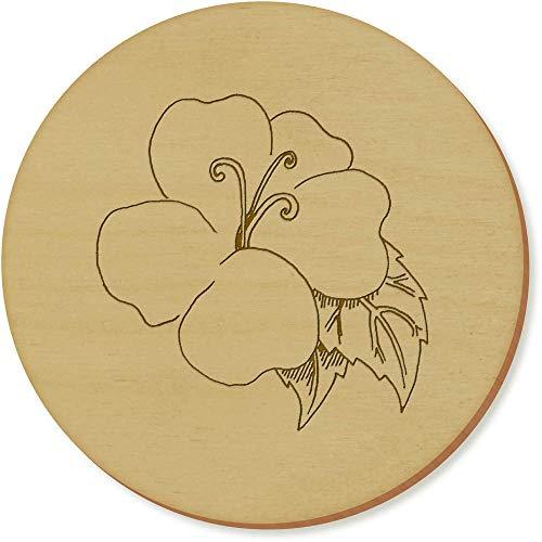 Azeeda 6 x 'Fleur et Feuilles' sous-Verres en Bois (CR00142799)