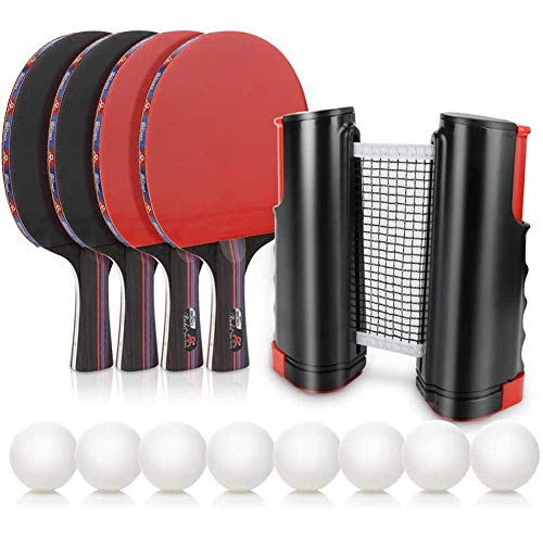 Fantastic Deal! WLKQ Table Tennis Set Bats and Balls with 4 Bats and 8 Balls, Portable Ping Pong Set...
