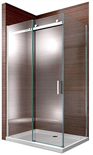 Duschabtrennung EX806-Kombi Dusche Schiebetür Dusche 8mm ESG-Glas NANO, Montage:Tür nach links öffnend, Maße Duschkabine:120x90cm