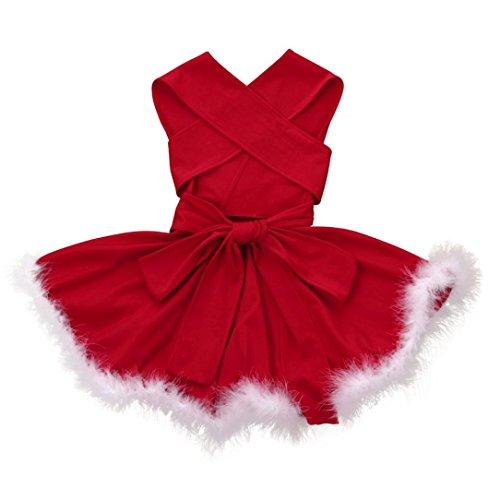 Xmas Familie Kleidung Mutter Tochter URSING Familie passendes Weihnachtskleid Weihnachten Solid Color Ärmellos Bandge Kleid Weihnachten Abend Party Kleid Minikleid Weihnachtskostüm (Baby, 90cm)