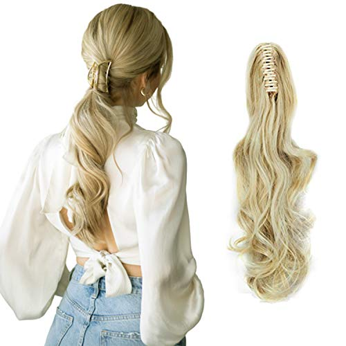 FUT Womens Claw Ponytail Clip in Hair Extensions 18' Long Curly Hairpiece Bleach Blonde Wavy 18 Inch
