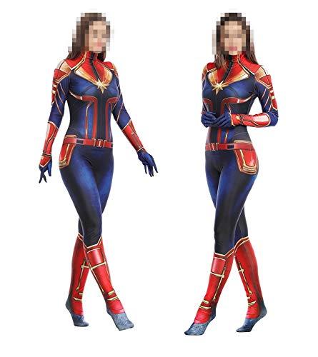 TOYSSKYR Capitán Marvel Cosplay Disfraz Medias corporales para adultos Accesorios de espectáculos de escenario Disfraces de Halloween (color : Rojo, Tamaño : M(160-170))