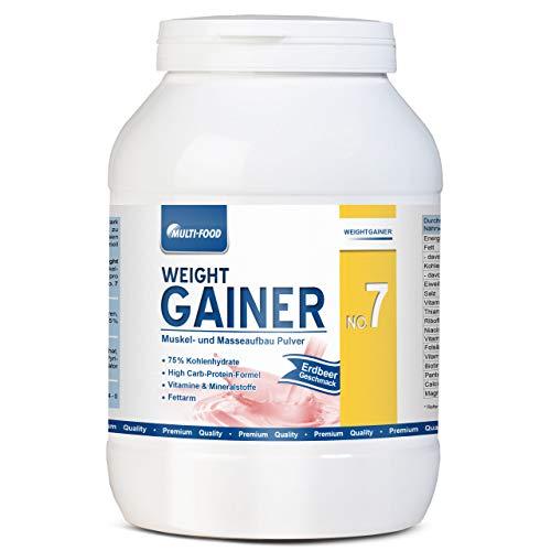 Weight Gainer No. 7, Mass Gainer, Kohlendydrate Pulver für zunehmen Gewicht schnell, aufbauen Gewichtszunahme, Muskelaufbau Pulver, Aufbaunahrung von Multi-Food (Erdbeere, 1500g)