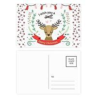 クリスマス鹿祭りのパターン クリスマスの花葉書を20枚祝福する
