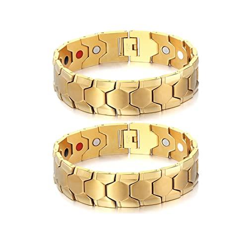 2 pulseras para adelgazar para hombre, elegante pulsera magnética, ajuste de terapia magnética, pulsera de equilibrio energético Ionwrist y adelgazante, pulsera antifatiga curativa (dorada)