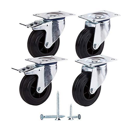 (Paquete de 4 piezas) Ruedas giratorias de goma de movimiento suave de 100 mm Ruedas con placas de metal Ruedas Carro industrial (4, 2 con frenos + 2 sin frenos)