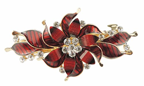 Glamour Girlz - Fermaglio per capelli da donna, smaltato, con strass, per occasioni serali, colore: rosso