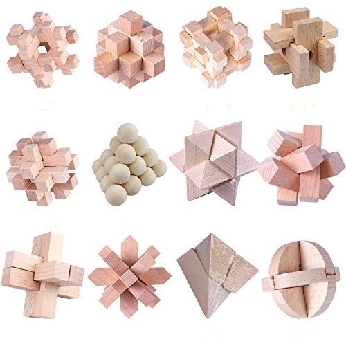 Coriver 12 Pezzi Rompicapo in Legno Puzzle Logica Puzzle, IQ Test Challenge GamesToy 3D Puzzle ad Incastro Gioco di sbrogliamento per Bambini Adolescenti Adulti
