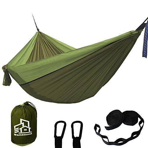 Wamsound Camping Hammock Single Double Portable Hammock,2 Tree Straps(6 Sections 9.2 Inches),Storage Bag,Indoor Outdoor Hammock,Backpacking,Camping,Hiking,Beach,Backyard(Dark Green,Green,Single)