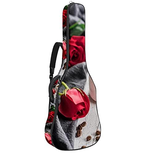 Bolsa de guitarra acústica con múltiples bolsillos acolchado grueso impermeable para guitarra, bolsa de café taza de 42 x 42 x 11,9 cm