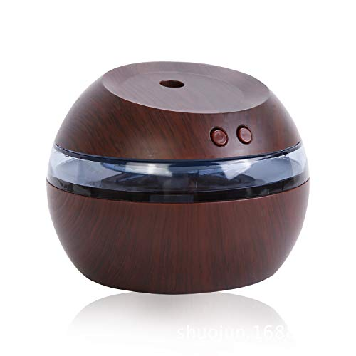 CUHAWUDBA Humidificador Ultrasónico USB,290 Ml Difusor de Aroma Difusor de Aceite Esencial Aromaterapia Niebla Creador con Azul Led Luz Marrón Oscuro