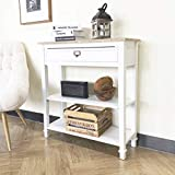 oneinmil Traditional French Accent Console Table with Drawer and 3-Tier Storage Shelf for Entryway Living Room Hallway, White
