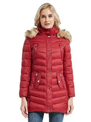 CROYEE Women's Winter Quilted Puffer Coat with Removable Fur Hood(Medium,Wine Red)