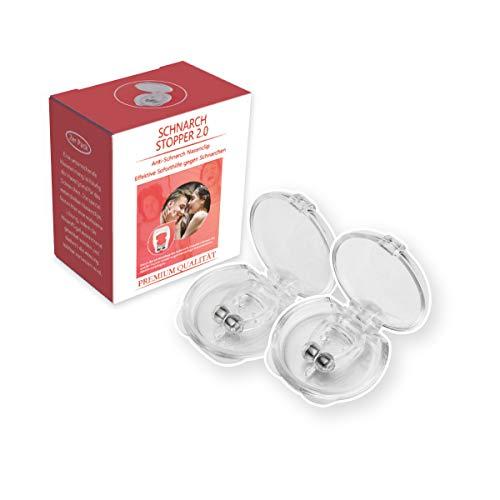 FXMING Schnarchstopper gegen Schnarchen, 2 Stück Nasenklammer Anti Schnarch Nasenspreizer aus Medizinischem Silikon, inkl. Magneten für Wirkung-Intensivieren