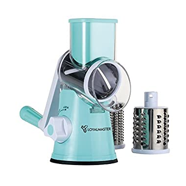 Rotary Cheese Grater - Drum Slicer Shredder Grinder - Speed Round Mandoline for Vegetable, Carrot, Potato, Nut - Tumbling Box with 3 Sharp Stainless Steel Drums - Strong Suction Base - LOYALMASTER