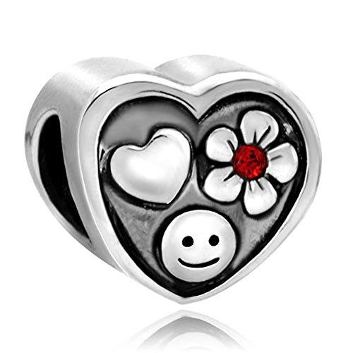 Cute Smile corazón de flores colgantes Love rojo cristal cuentas de venta...