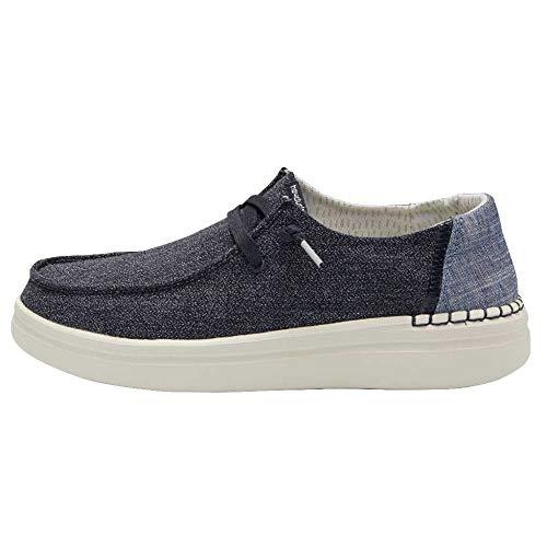 Hey Dude Wendy Rise - Zapatos casuales para mujer, estilo mocasín, comodidad ligera, plantilla ergonómica de espuma viscoelástica, diseñada en Italia y California, color Azul, talla 39 EU