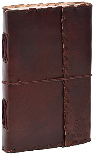 """INDIARY Hardbound Buffalo Leather Journal and 100% Cotton Handcrafted Paper 9x5"""" - Expedition II"""