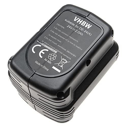 vhbw Batería recargable reemplaza Dewalt DE0240, DE0240-XJ, DE0241, DE0243, DE0243-XJ, DW0240 para herramientas eléctricas (2000 mAh NiMH 24 V)