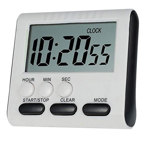 Temporizador de Cocina Digital Portátil con Pantalla LCD Grande y con Respaldo Magnético Fuerte Temporizador / Alarma Digital para Cocina Magnética Temporizador Multifunción con Función de Reloj
