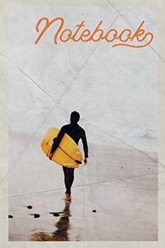 Notebook: Surfboard Surfing Stylish Composition Book Journal Diary for Men, Women, Teen & Kids Vintage Retro Design Sunset Big Wave