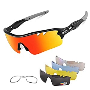 Polarized Sports Sunglasses Cycling Sun Glasses for Men Women with 5 Interchangeable Lenes for Running Baseball Golf Driving