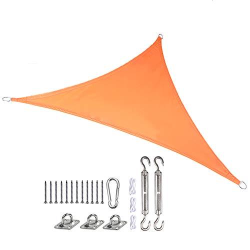 JHKGY Vela De Sombra Impermeable Al Aire Libre con Bloque UV,Vela Triangular,Toldo 160GSM,para Patio Garden Yard,con 3 Cuerdas Y Accesorios,3.6×3.6×3.6m