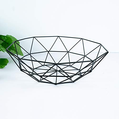Metal Wire Fruit Bowl Vegetable Basket Snacks Candy Bread Holder Storage Countertop Dish for Home Kitchen Party Christmas Black 11inch