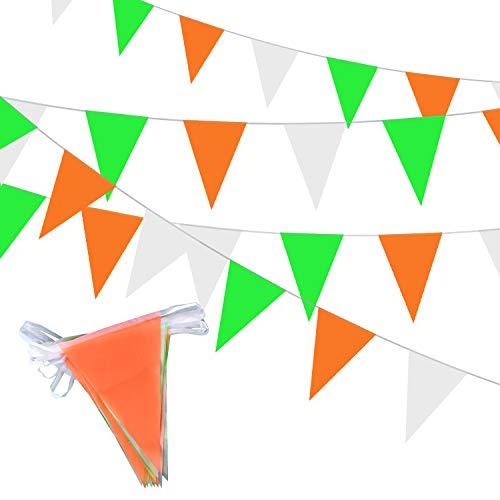 MIAHART St. Patrick's Day 21 Wimpel Irish 7M Green,Weiße & orange Bunting Dekoration Irisches Dreieck Bunting Flagge für St. Patrick's Day Party Feiern hängende Dekorationen