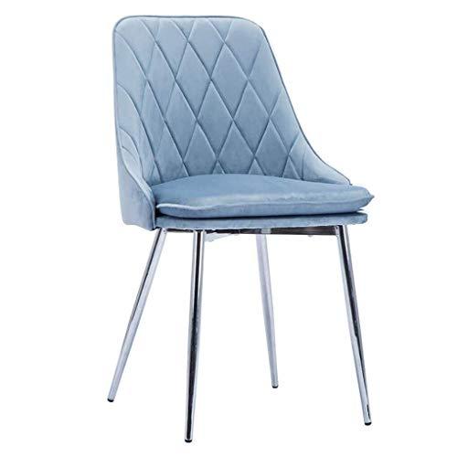 Chair J-Schminktischhocker Stühle Soft Velvet Dining, Küchentheke Lounge Side Sitz, Mit Metall Beine, for Wohnzimmer Schlafzimmer Cafe Vanity (Color : Blue, Size : Silver Legs)