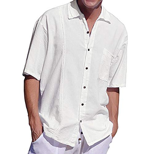 Camisas de Manga Corta para Hombres Camisas de Manga Corta con Bolsillo de Corbata con Botones de Color sólido Camisas de Manga Corta Informales Europeas y Americanas XXL
