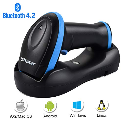 Trohestar Bluetooth Barcode Scanner with USB Cradle,Compatible with Bluetooth Function & 2.4GHz Wireless & Wired Connection Portable 1D Bar Code Reader Scanner for Windows, Mac, Android, iOS barcode scanner TroheStar