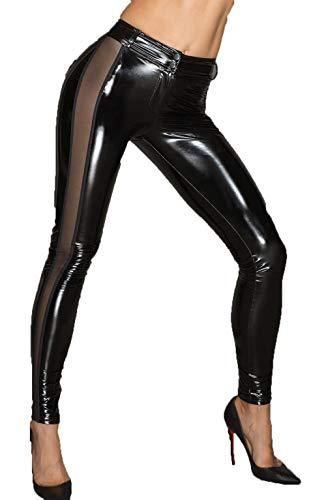Noir Handmade PVC-Leggins mit Tülleinsätzen Damen Dessous Gogo Hose schwarz eng mit Reißverschluss 2XL