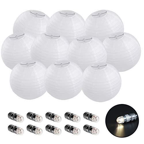 10er 20CM Papierlaterne weiß Lampions mit 10er Warmweiße Mini LED-Ballons Lichter, rund Lampenschirm Hochtzeit Party Dekoration Papierlampen