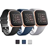 Pack 3 Soft Silicone Bands for Fitbit Versa 2 / Fitbit Versa/Fitbit Versa Lite Classic Adjustable Sport Bands for Women Men Small Large(Without Tracker) (Large, Black+Blue+Grey)