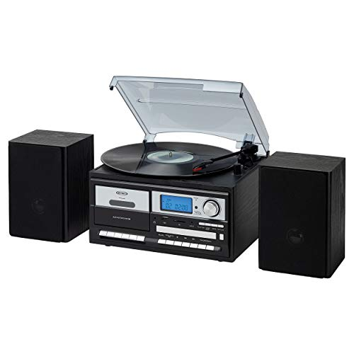 Jensen JTA-575BK All-in-One Modern Home Record Player Stereo 3-Speed Turntable Music System Multimedia Center + CD/MP3, USB/SD Encoding AM/FM Cassette Player/Recorder + Remote Wooden Speakers (Black)