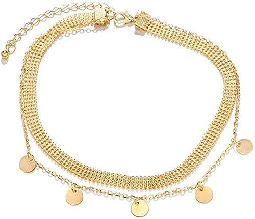 ZHIFUBA Co.,Ltd Collar Moda Mujer Joyería Aleación Natural Color Dorado Colgante Redondo Collar Colgante Collar Mujer Gargantilla Collar Regalo