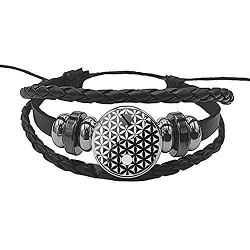 Armbänder für Männer schwarz Farbe Leder Charme Yin und Yang Taiji 3D Yoga Mandala Armband Blume des Lebens Glas Cabochon Armreif Schmuck